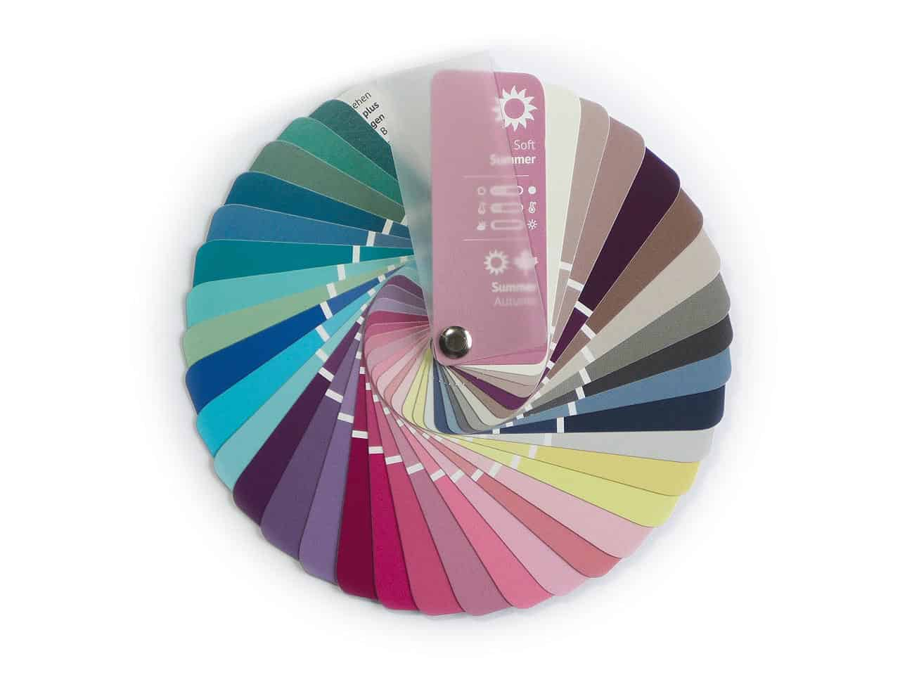 Color Swatch Fan Warm Autumn with 35 Colors for Color Analysis and Image Consulting